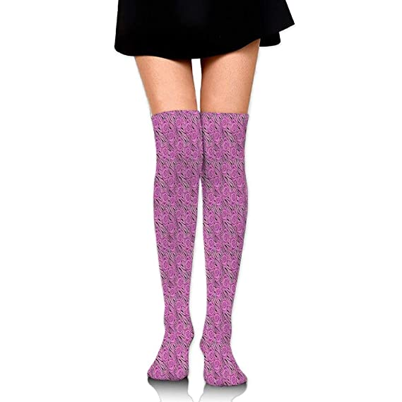 Jolly2T Flowers Blossoms On Tiger Wild Animal Print Background Womens Fashion Over The Knee High Socks