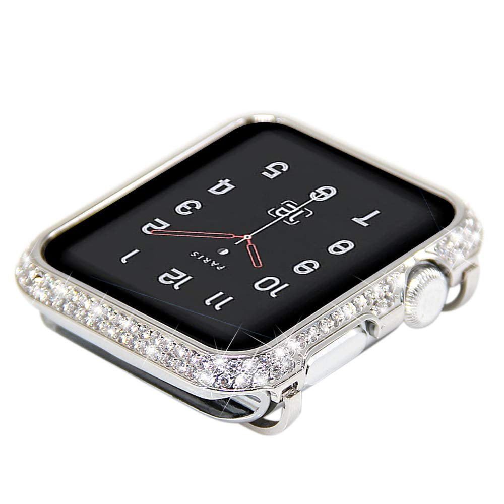Coobes Compatible with Apple Watch Case 38mm 42mm, Metal Bumper Protective Cover Women Bling Diamond Crystal Rhinestone Shiny Compatible iWatch Series 3/2/1 (Diamond-Upgraded Silver S3/2/1, 38mm)