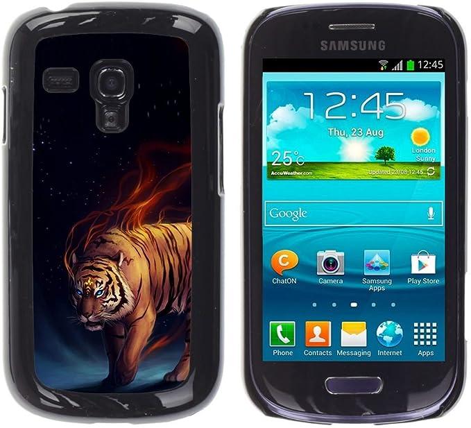 Carcasa de plástico funda | | Samsung Galaxy S3 MINI 8190 | | Fuego ardiente tigre azul oscuridad negro Animal @ XPTECH: Amazon.es: Electrónica