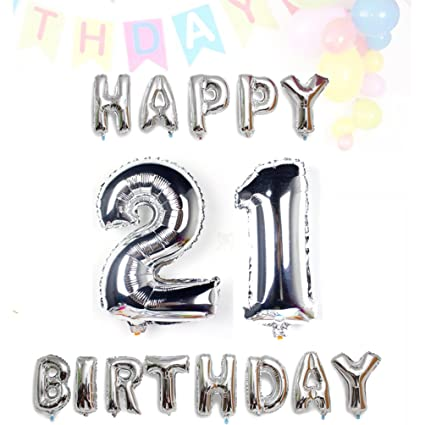 AZOWA Big 21 Balloons Jumbo Number With Silver Happy Birthday Letter For