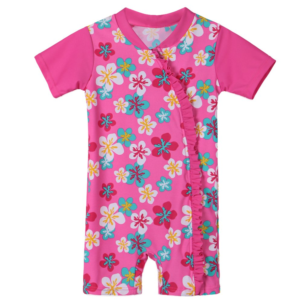 HUANQIUE Bébé Fille Maillot de Bain avec Motif de Fleur et Cœur Combinaison de Natation 0-3 Ans