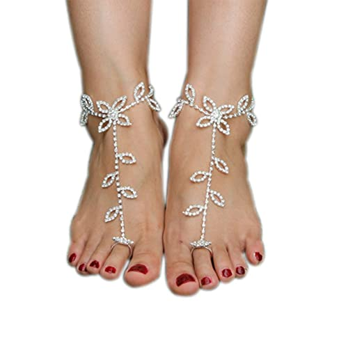 Vogholic Beach Wedding Foot Jewelry Anklet Rhinestone Barefoot