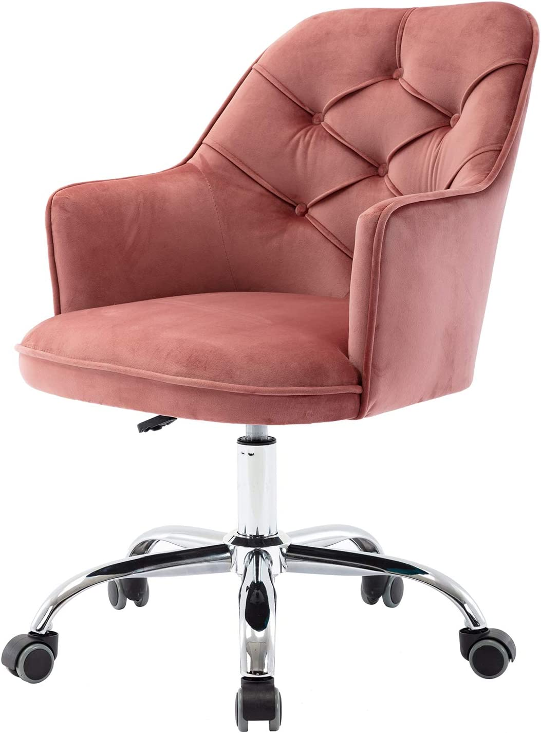 Henf Velvet Accent Chair, Living Room 360 Swivel Shell Chairs Velvet Home Office Desk Chair Modern Tufted Vanity Chair with Wheels for Bedroom (Warm Pink)