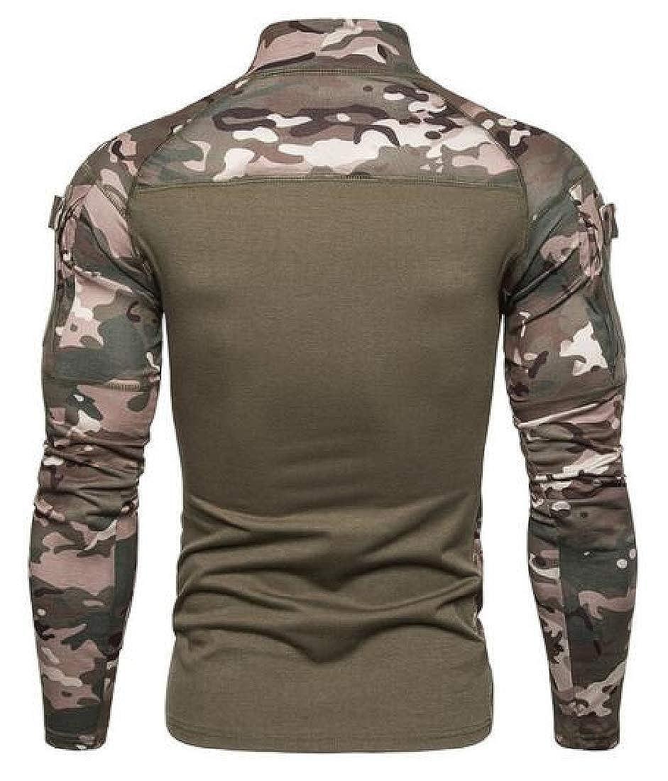 KLJR Men Outdoor Stretch Camouflage Turtleneck Long Sleeve Gym Workout Jersey T-Shirt Top