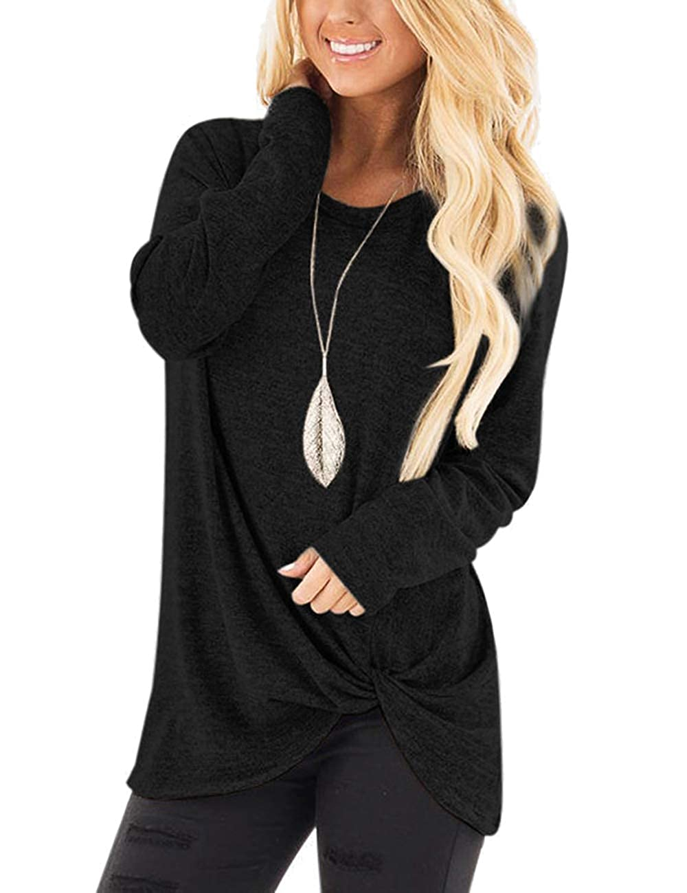 Lrud Womens Crossed Front Long Sleeve Tops Casual Knotted Sweatshirt T-Shirts