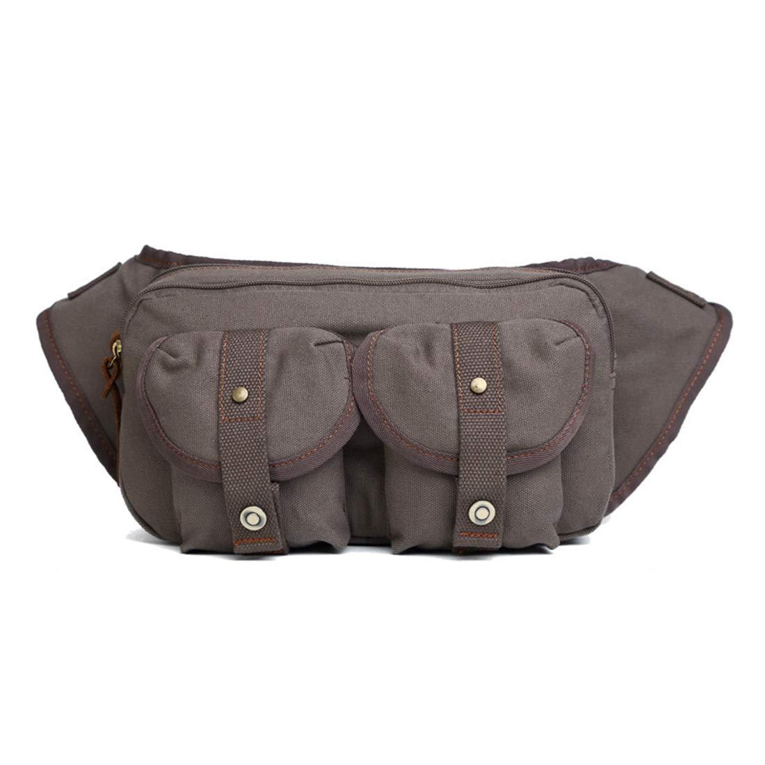 RABILTY Bulk Capacity Brown Canvas 26177 Waist Bag Crossbody Fanny Pack Organizer,Travel Neck Pouch Color : Gray