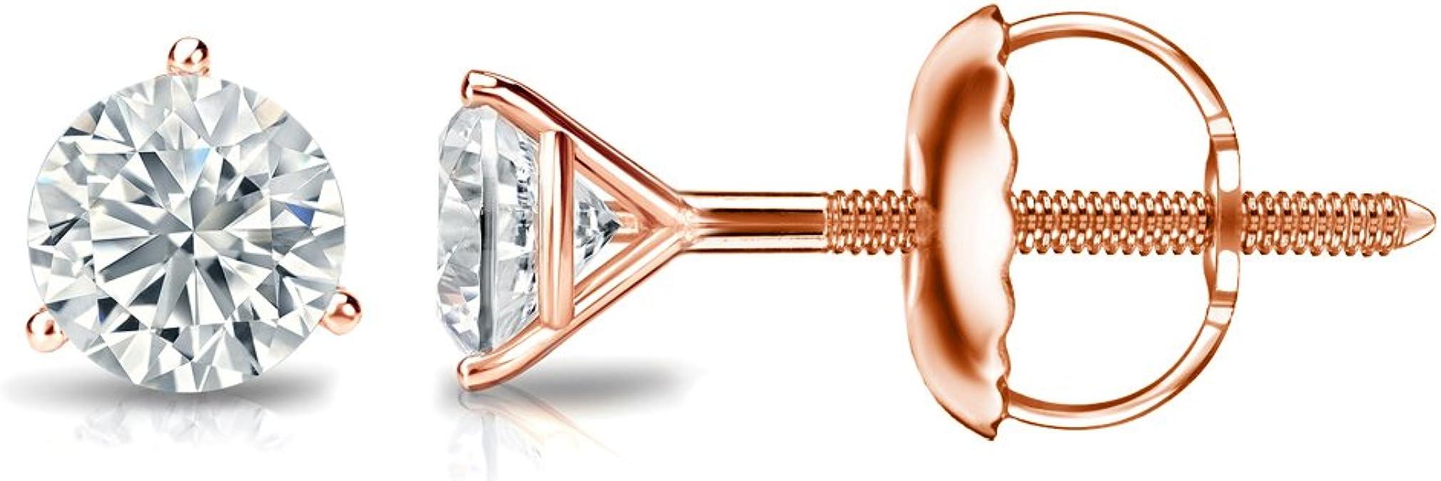 0.08cttw, Good, SI2-I1 Screw-Back Diamond Wish 14k Gold Round SINGLE Diamond Stud Earring Bezel Set