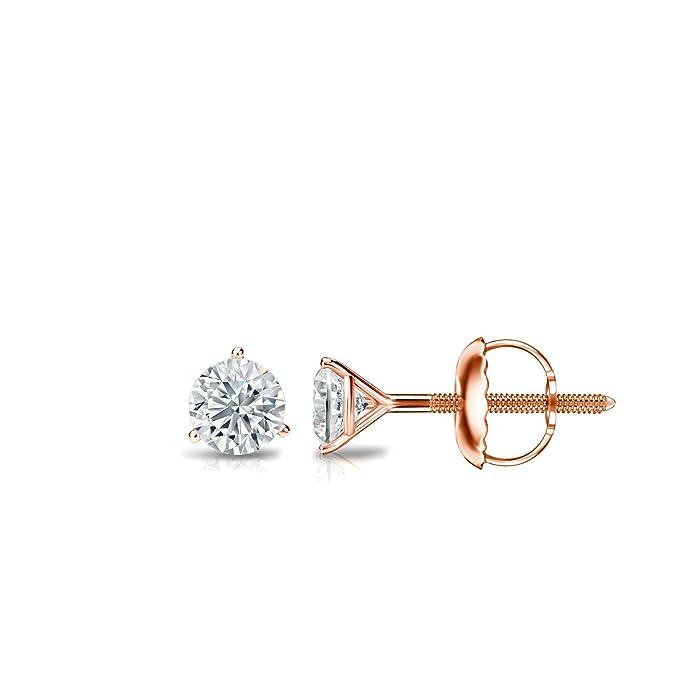 Diamond Wish 18k Gold Round SINGLE Diamond Stud Earring Bezel Set 0.08cttw, Good, I2-I3 Screw-Back