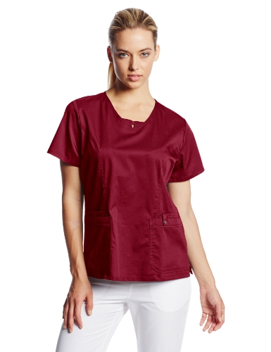 Cherokee Women's Scrubs Luxe Jr. Fit V-Neck Top, Wine, X-Small