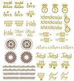 Bachelorette Party Tattoos (UNIQUE SET) 48 Metallic Shiny Gold Flash ...
