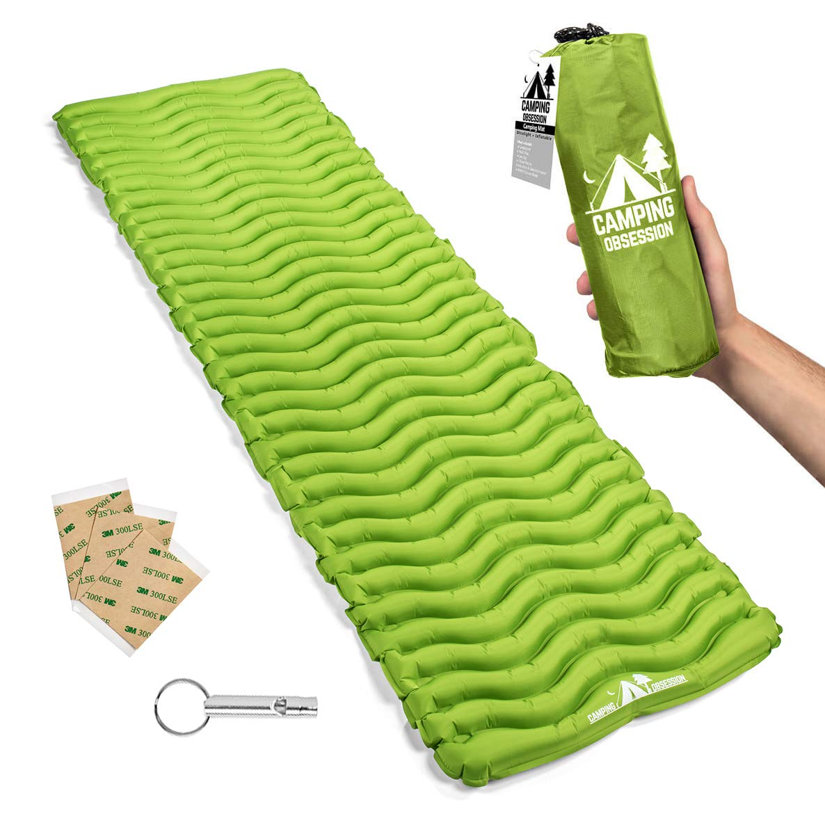 Camping Sleep Mat - Compact & Lightweight Inflatable Sleeping Pad for Backpacking - Ultralight Air Mattress Engineered for Comfort - with 3 Repair Patches and Bonus Survival Whistle (Parakeet Green) by Camping Obsession