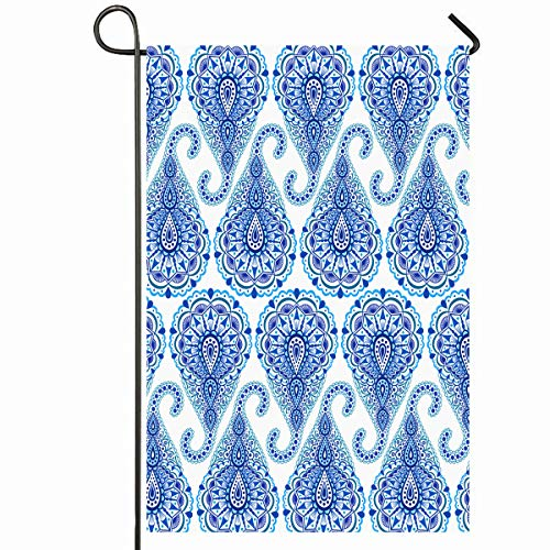 Ahawoso Outdoor Garden Flag 12x18 Inches Oriental Blue Abstract Boho Chic Paisley Droplet Pattern Almond Complex Deep Dots Seasonal Home Decorative House Yard Sign ()