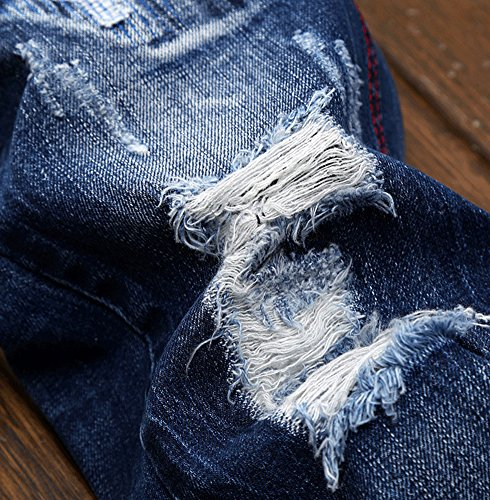 Vaqueros Fit Azul Destruido Vaqueros Pantalones Para Rectos 164 Pantalón Rasgado Hombre Slim Mezclilla Jeans rnzqrfFw