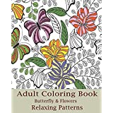 Adult Coloring Book (Butterfly & Flowers)