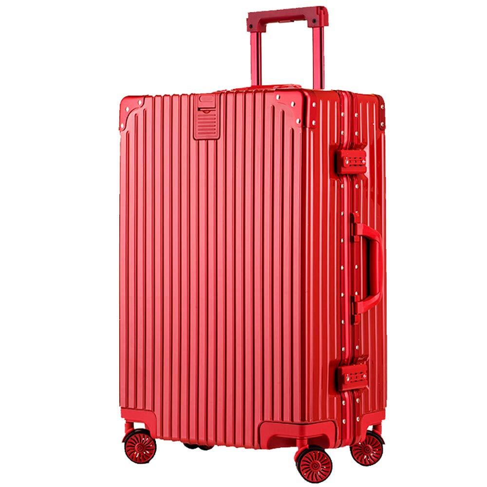 トローリー荷物ユニバーサルホイールスーツケースパスワードボックス荷物男性と女性のアルミフレームの荷物赤   B07KR834CL
