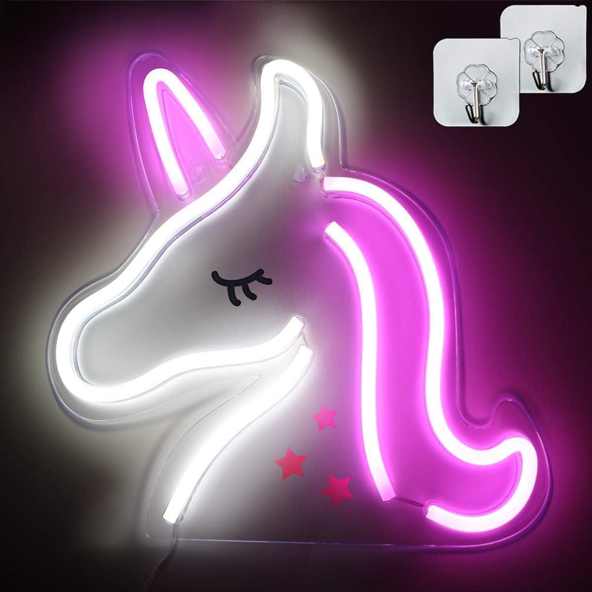 Xiyunte Unicorn Neon Signs Led Unicorn Lights Acrylic Neon Light Wall Decor Usb Operated Unicorn Signs Light Up For Kids Bedroom Bar Party Valentine S Day Wedding With Two Hooks Amazon Com