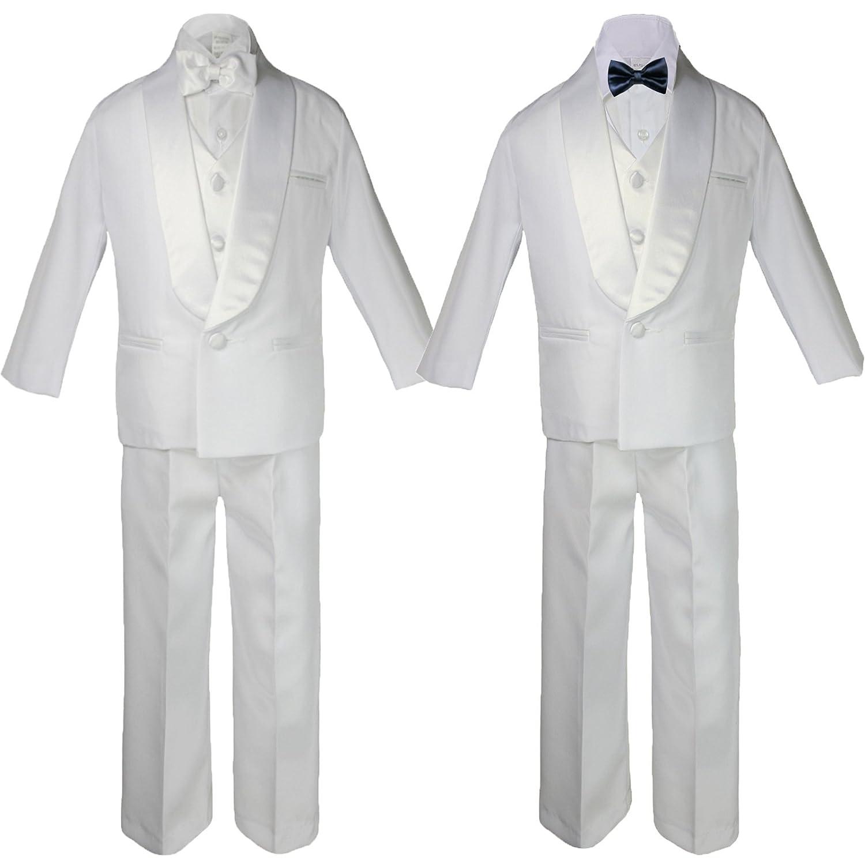 6pc Boy Baby Teen White Satin Shawl Lapel Suits Tuxedo NAVY Satin Bow tie Set