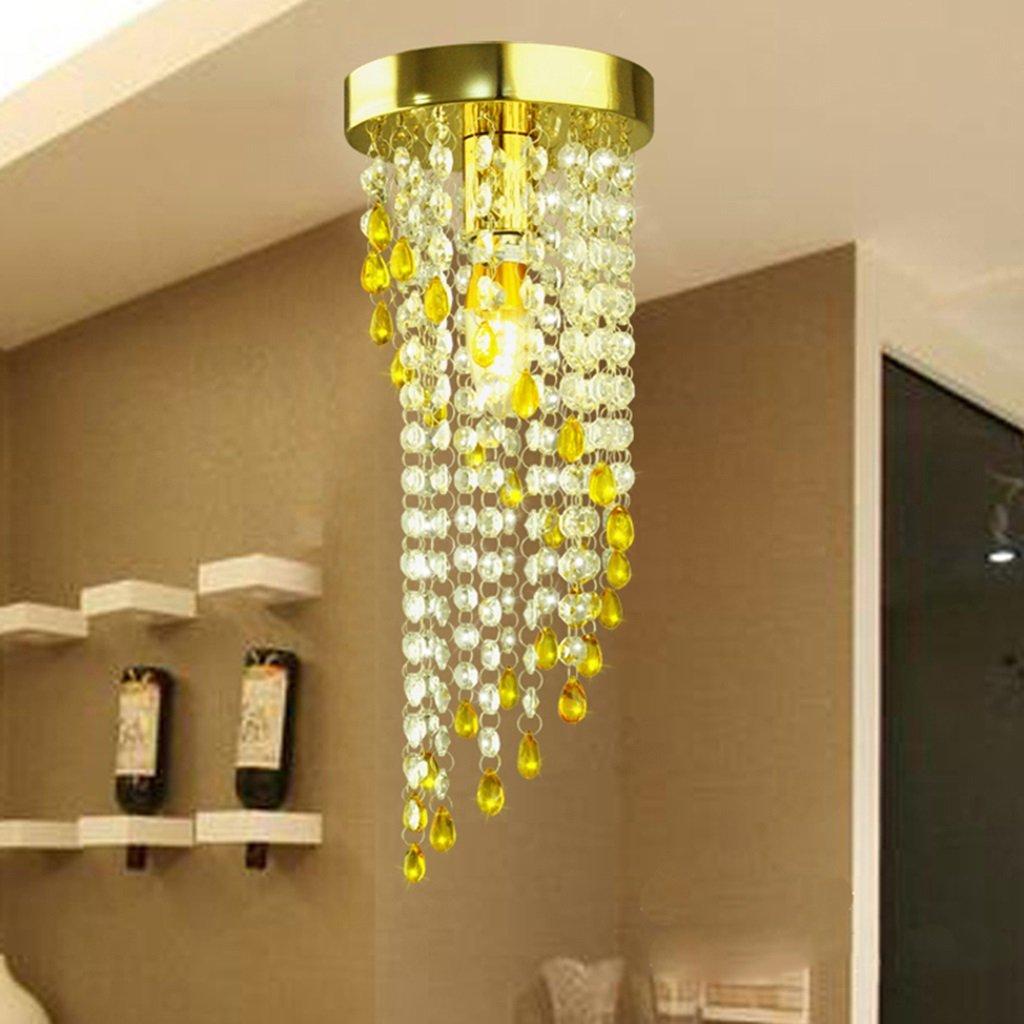 &Pendelleuchte Restaurant Kristall-Kronleuchter Decke LED 1-Licht Gold D15  H41cm AC110V-256V Transparente Kristallfarbe Moderne Deckenleuchte minimalistische Esszimmer Lichter ( Größe   20cm )