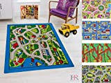 Road Mats by Handcraft Rugs-Game Carpets for Kids/Kids Toy/Kids learning rug/Kids Floor Rug / My Neighborhood Map/Blue/Gray and Multi color Anti Slip Rug (Approximately 8 feet by 10 feet)