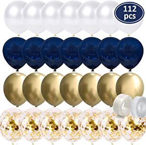 112 Pcs Navy Blue Balloons - Gold Chrome Balloons - Gold Confetti Balloons - White Balloons Matte - Balloon Strip - Glue Points for Baby Shower, Boys Birthday Party, Wedding Party Decorations