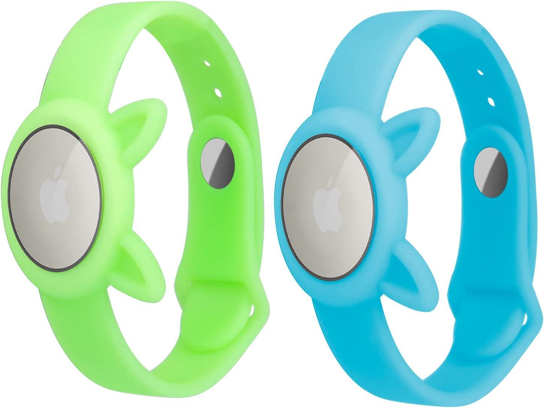 Paquete de 2 AirTags Luminous Soft Silicone Watch Strap, Glow-In-Night Safety y GPS Niños Anti-perdida, Anti-Scratch Protective para posicionar la Pulsera Airtag Tracker,Fluorescencia Azul+Verde