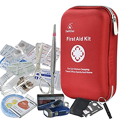 First Aid Kit - 163 Piece Waterproof Portable Essential Injuries & Red Cross Medical Emergency equipment kits : For Car Kitchen Camping Travel Office Sports And (1st Birthday Girl Pin)