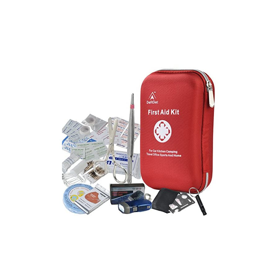 DeftGet First Aid Kit 163 Piece Waterproof Portable Essential Injuries & Red Cross Medical Emergency equipment kits : For Car Kitchen Camping Travel Office Sports And Home