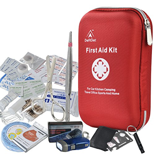 First Aid Kit Survival Box Red Cross Medical kits - 14 Items Waterproof Portable Essential Injuries & Medical Emergency equipment : For Car, Kitchen, Camping, Hiking, Travel, Office, Sports And Home