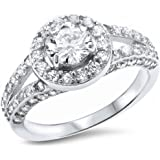 Oxford Diamond Co 2ct Halo Style CZ .925 Sterling Silver Ring Sizes 5-10 SRC16138