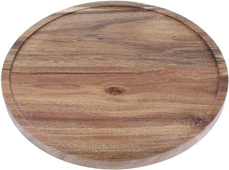 Homyl Acacia Wood Flat Round Wood Server Cake Stand with Glass Dome A