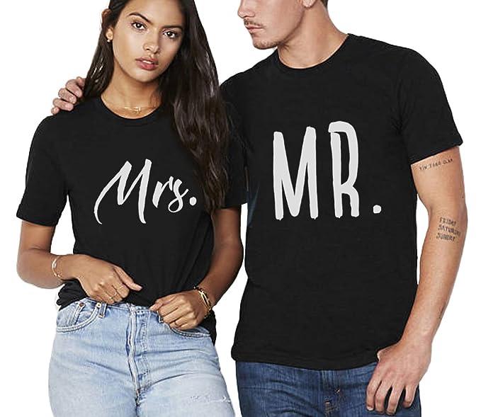 b4d42eaf Mr & Mrs T Shirt Couples Matching Set 100% Cotton Valentine's Gift Short  Sleeve Tees