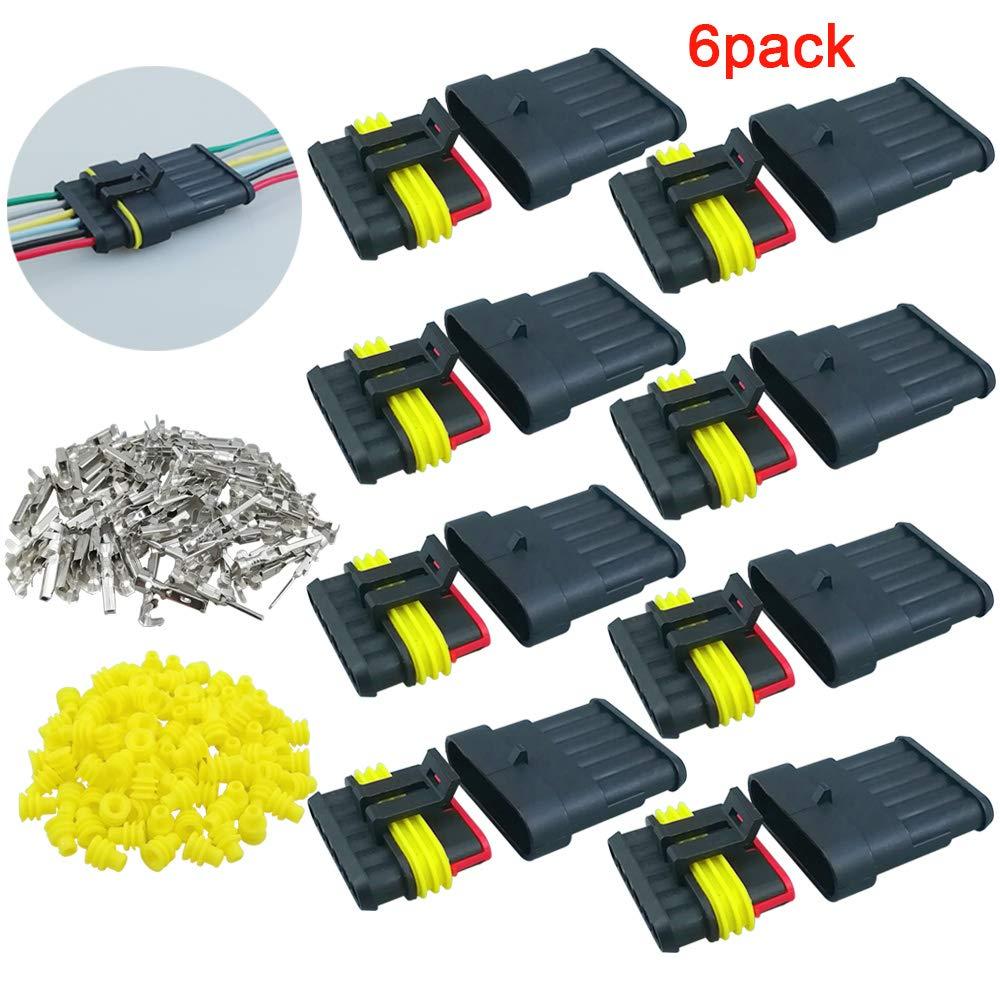 QitinDasen 6 Kit Profesional 6 Pin Coche Impermeable Cable El/éctrico Conector Set Coche Impermeable R/ápido Enchufe Terminal para Coche Moto Cami/ón Barcos