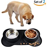 Dog Bowls, CATOOP Stainless Steel Pet Dog Bowls Food Water Feeding Bowl with No Spill Non-Skid Silicone Mat 54 oz Pet Bowls Feeder for Dogs Cats Puppies Pets, Set of 2(Black)