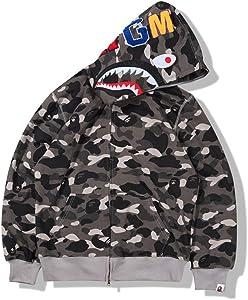 ZYPPX Men Women Hoodie Bape Full Zip Shark Head Camo Long Sleeve Casual Sweatshirt Jacket