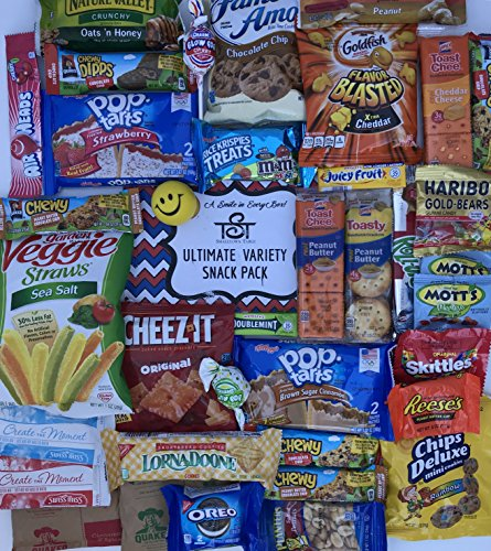 Ultimate Snack Pack Care Package Cookies, Chips & Candies Bundle Variety Sampler 40 Items College Office Military Gift Variety Assortment Selection (Sending Care Packages)