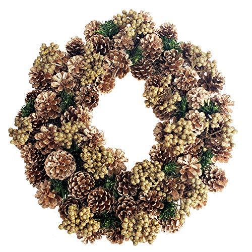 Glitter Wreath - Homeford Gold Pine Cones & Glitter Berries Twig Christmas Wreath, 17-Inch (Gold Berries)