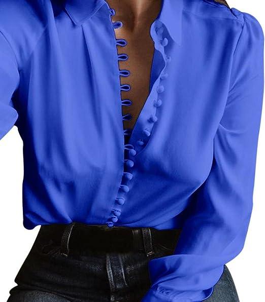 Vestidos Largos Camisa Mujer Blusa de Manga Larga de Primavera otoño Camisetas Camisa de Solapa Pullover Casual Tops de Talla Grandes Blusas de Mujer Elegantes de Fiesta 2018 (Azul, S): Amazon.es: Hogar