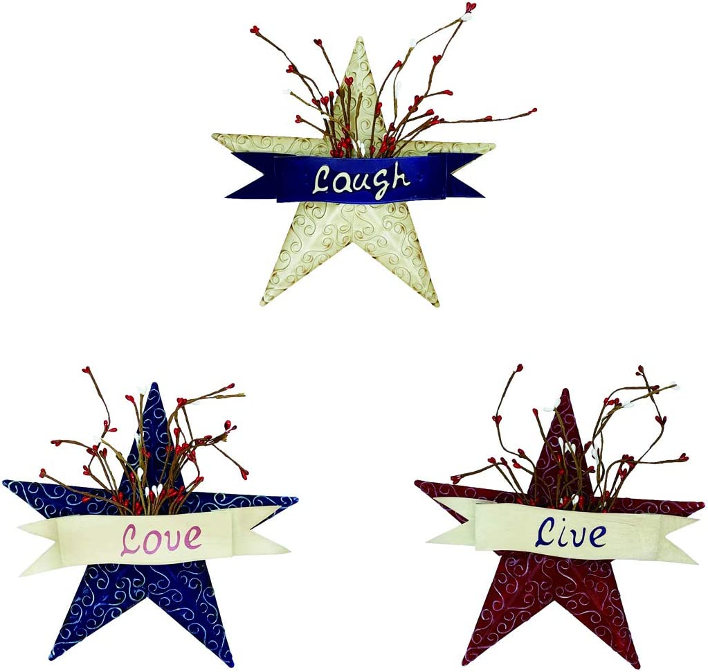 4homemax Metal Patriotic Old Glory Americana Flag Barn Star with Live, Love and Laugh- July of 4th Independence Day Memorial Day Hanging Wall Decoration 10.5''H (Set of 3)
