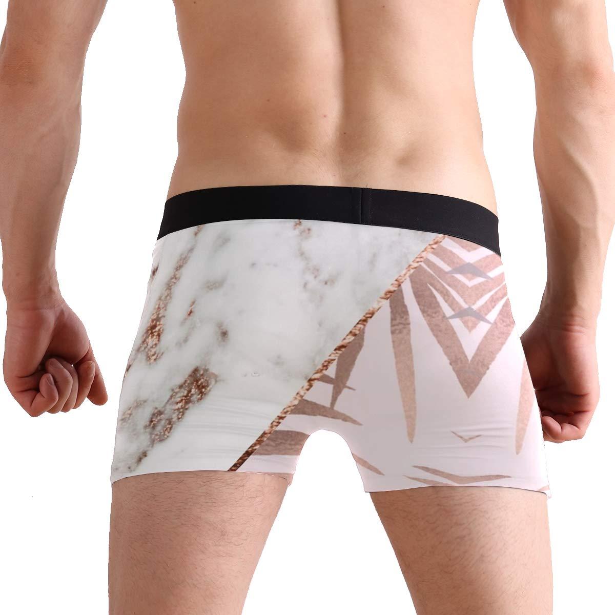 Rose Gold Marble Tropical Mens Underwear Mens Bag Soft Cotton Underwear 2 Pack