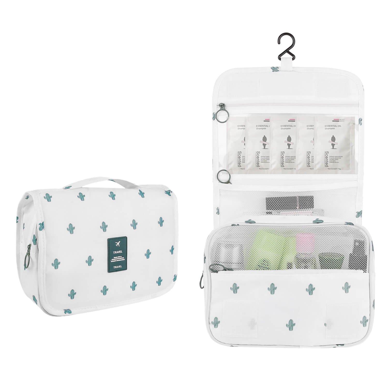 Toiletry Bag Portable Roomy Makeup Bag Hanging Cosmetic Waterproof Travel Washing Original Packaging Bag For Men Women (white)