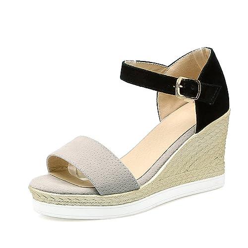 75948ae660676 JITIAN Femmes Sandales Plateformes Mode, Talons Hauts Compensés en Corde  Bicolore Confort Chaussure Gris 34