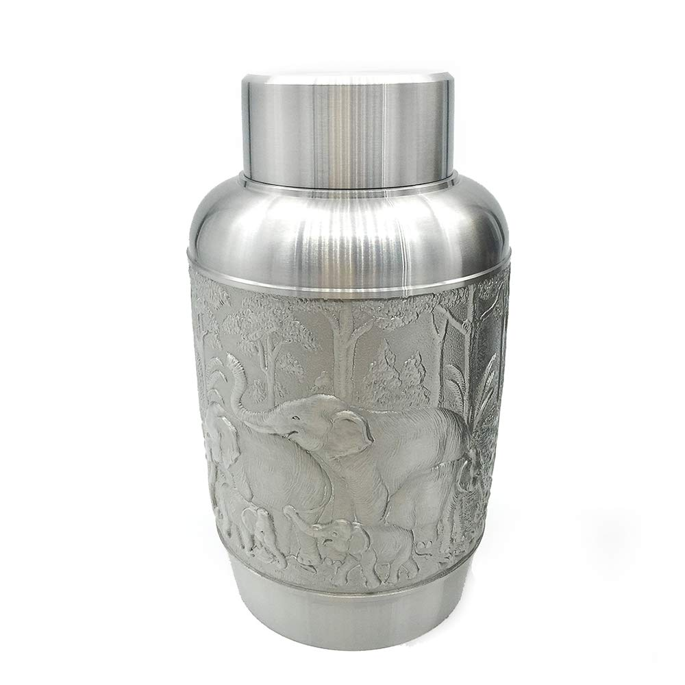 Oriental Pewter - Pewter Tea Storage, Caddy - Hand Carved Beautiful Embossed Pure Tin 97% Lead-Free Pewter Handmade in Thailand