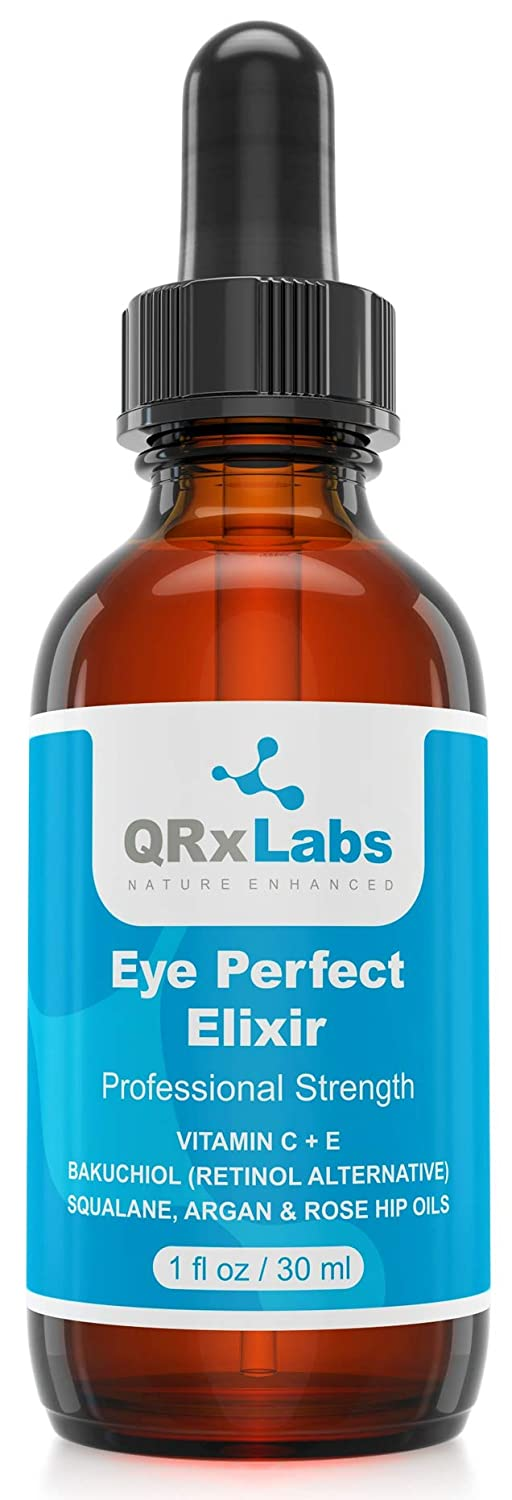 Eye Perfect Elixir - With Bakuchiol (Retinol Alternative), Pure Argan and Rosehip Oils, Squalane, Vitamin C & E - Best Anti-Aging Treatment Serum for Bags, Puffiness, Wrinkles, Crow Feet