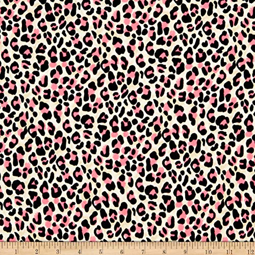 Fabric Double Brushed Poly Jersey Knit Cheetah Neon Pink Fabric by the Yard