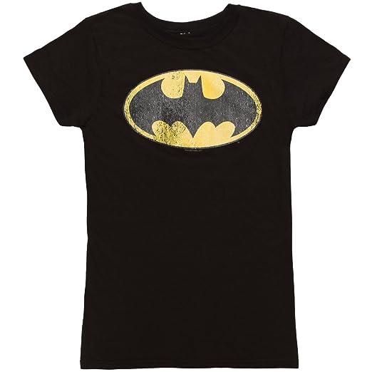 Batman Classic Distressed Logo Juniors Black T-shirt (Medium)