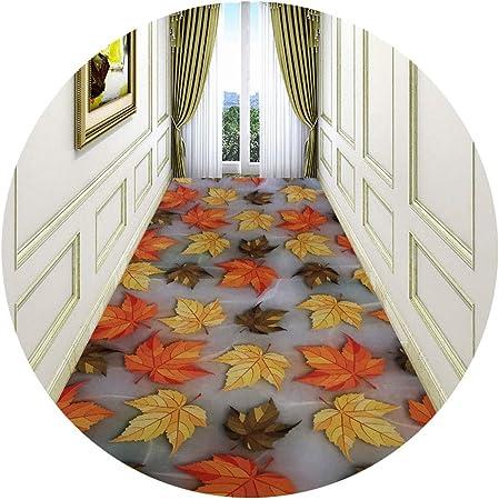 Jcy-La alfombra Pasillo Largo Escalera Corredor Impresión 3D Patrón Hoja Arce,Antideslizantes Moqueta de Salón Dormitorio,Fácil Limpiar (Color : Orange, Size : 0.8x3m): Amazon.es: Hogar
