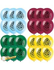 Unique Harry Potter Party Balloons Bundle | 24 Count Hogwarts School Multicolor Latex Balloons | Kids Birthday Party Officially Licensed by Unique