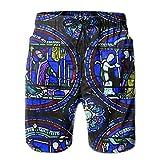 HSJOTT Church Colored Glass Window Casual Men's Swim Trunk Beach Shorts