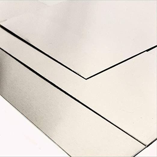 0.5mm Thick 304 Grade Stainless Steel Sheet Metal Plate Guillotine Cut With Protective Coat 75 x 75mm Sheet