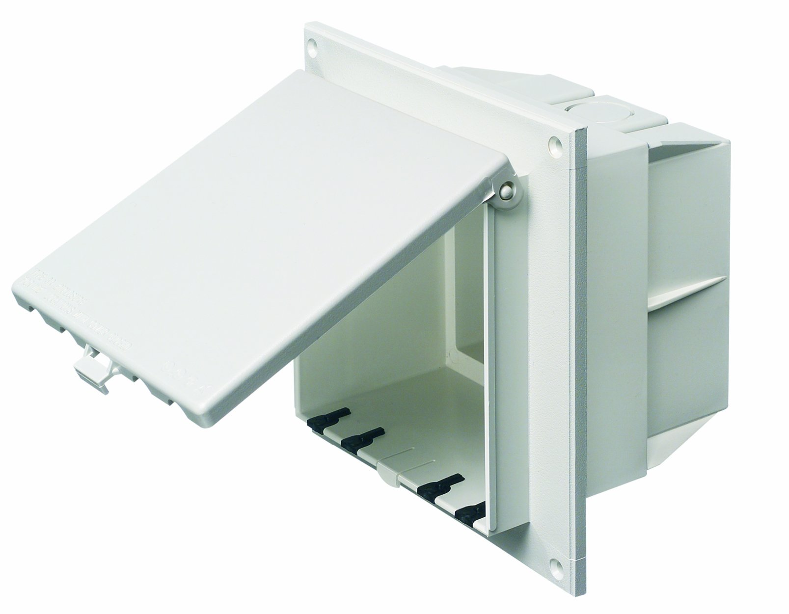 Arlington DBVR2W-1 Low Profile IN BOX Electrical Box with Weatherproof Cover for Flat Surfaces, 2-Gang, Vertical, White by Arlington Industries